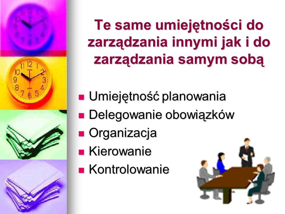 Te same umiejętności do zarządzania innymi jak i do zarządzania samym sobą Umiejętność planowania Umiejętność planowania Delegowanie obowiązków Delego