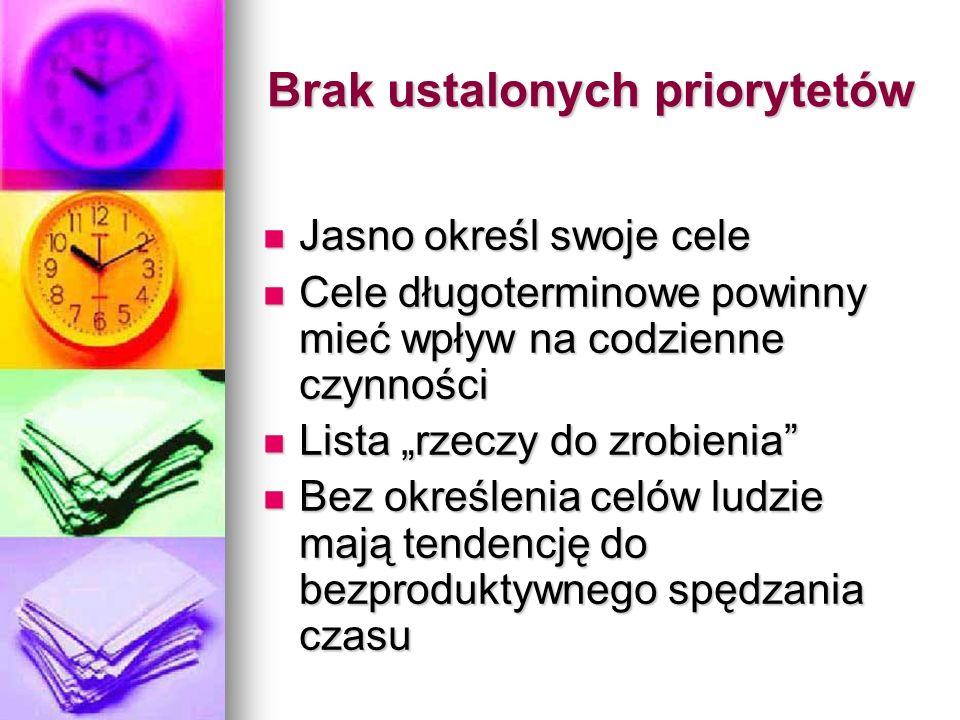 Brak ustalonych priorytetów Jasno określ swoje cele Jasno określ swoje cele Cele długoterminowe powinny mieć wpływ na codzienne czynności Cele długote