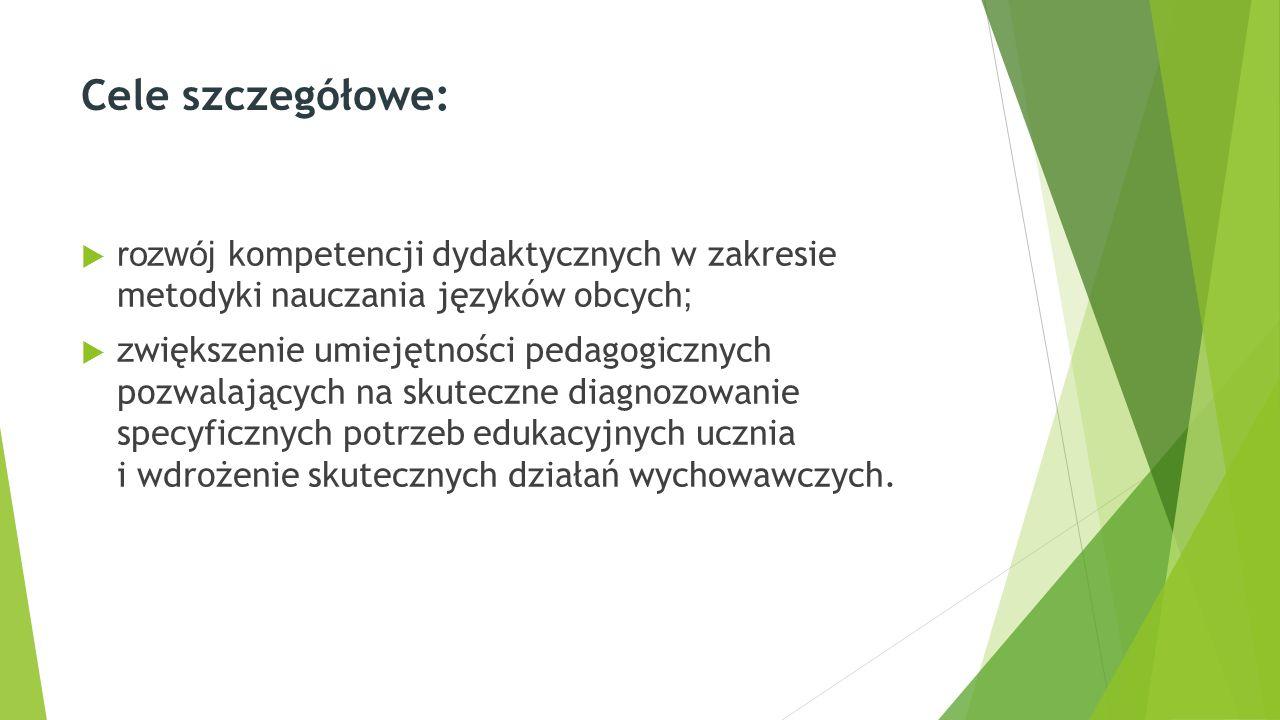 Cele szczegółowe:  rozwój kompetencji dydaktycznych w zakresie metodyki nauczania języków obcych ;  z większenie umiejętności pedagogicznych pozwalających na skuteczne diagnozowanie specyficznych potrzeb edukacyjnych ucznia i wdrożenie skutecznych działań wychowawczych.