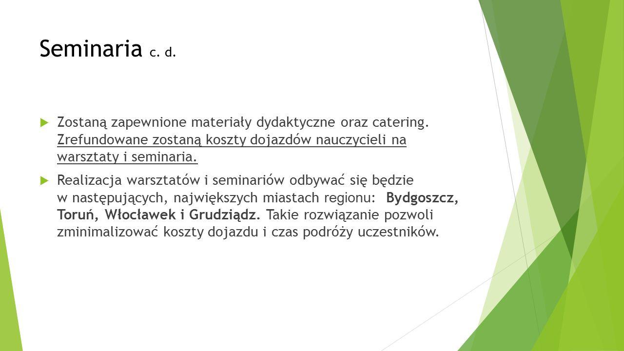 Seminaria c. d.  Zostaną zapewnione materiały dydaktyczne oraz catering.