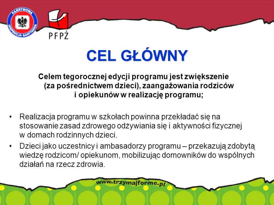 Celem tegorocznej edycji programu jest zwiększenie (za pośrednictwem dzieci), zaangażowania rodziców i opiekunów w realizację programu; Realizacja pro