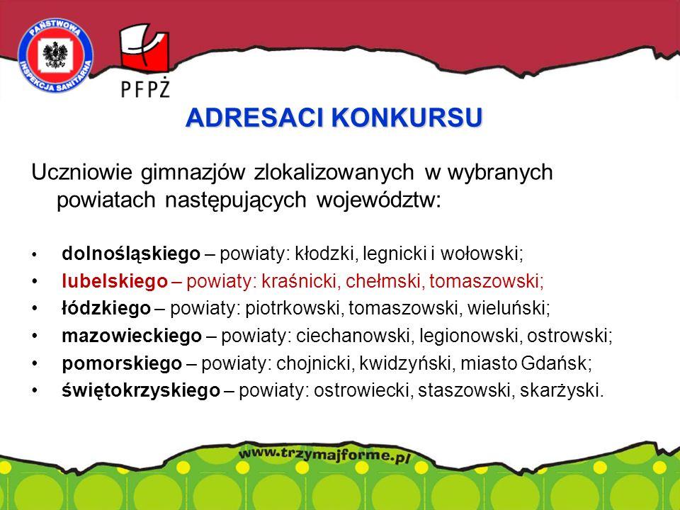 Uczniowie gimnazjów zlokalizowanych w wybranych powiatach następujących województw: dolnośląskiego – powiaty: kłodzki, legnicki i wołowski; lubelskieg