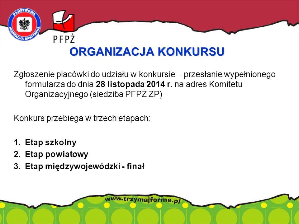 Zgłoszenie placówki do udziału w konkursie – przesłanie wypełnionego formularza do dnia 28 listopada 2014 r. na adres Komitetu Organizacyjnego (siedzi