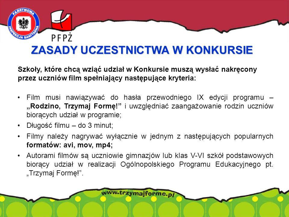 Szkoły, które chcą wziąć udział w Konkursie muszą wysłać nakręcony przez uczniów film spełniający następujące kryteria: Film musi nawiązywać do hasła