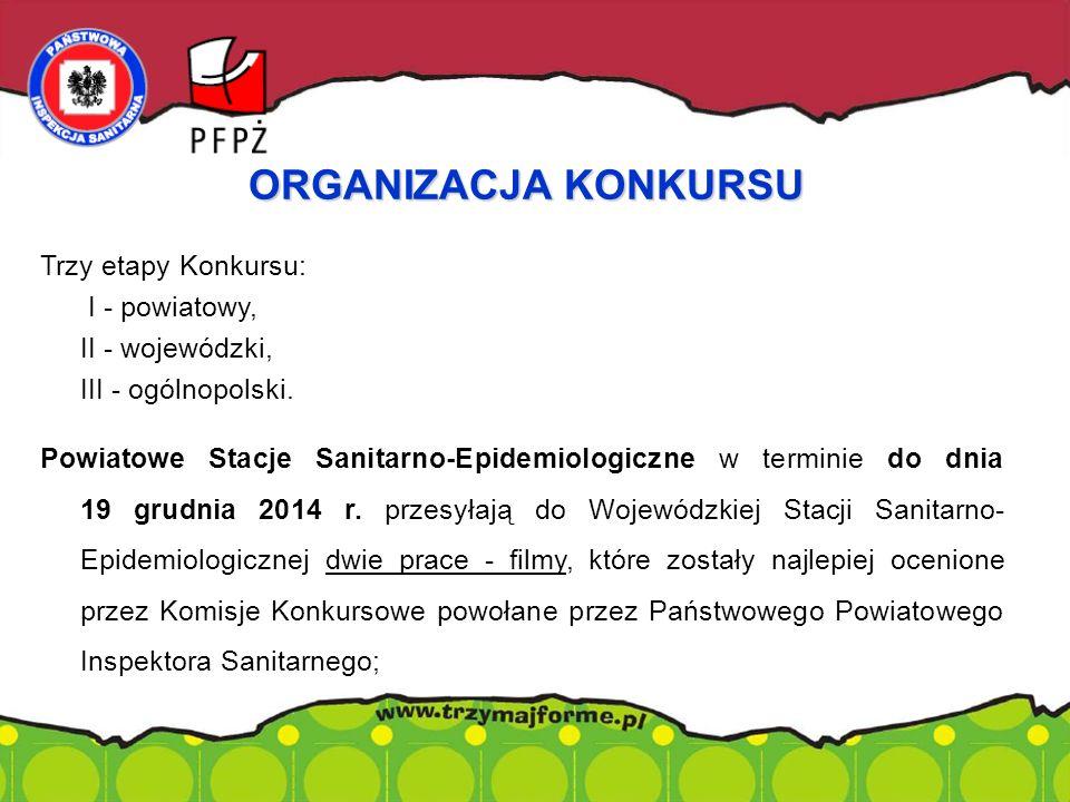Trzy etapy Konkursu: I - powiatowy, II - wojewódzki, III - ogólnopolski. Powiatowe Stacje Sanitarno-Epidemiologiczne w terminie do dnia 19 grudnia 201