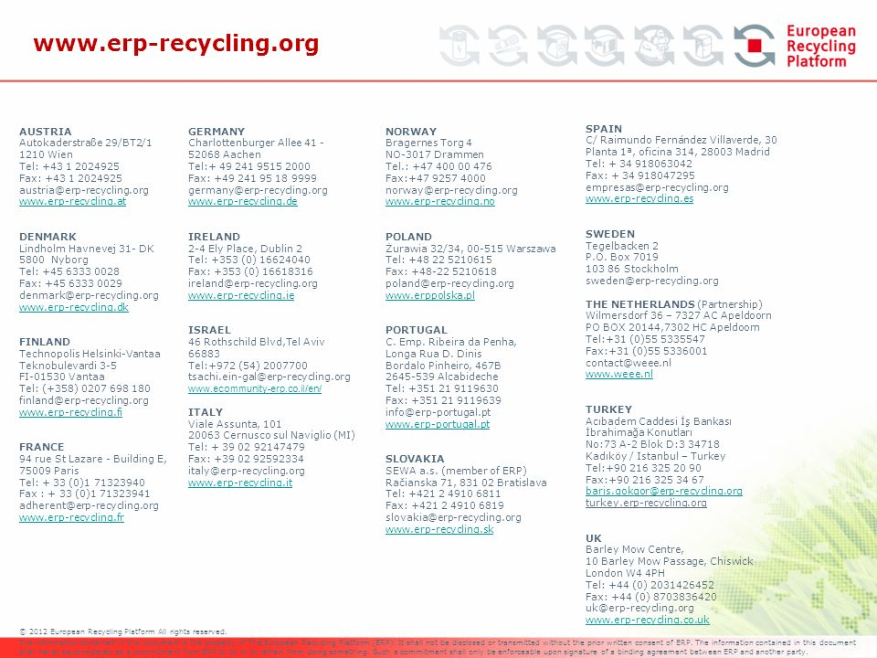 © 2012 European Recycling Platform All rights reserved. The information contained in this document is the property of The European Recycling Platform