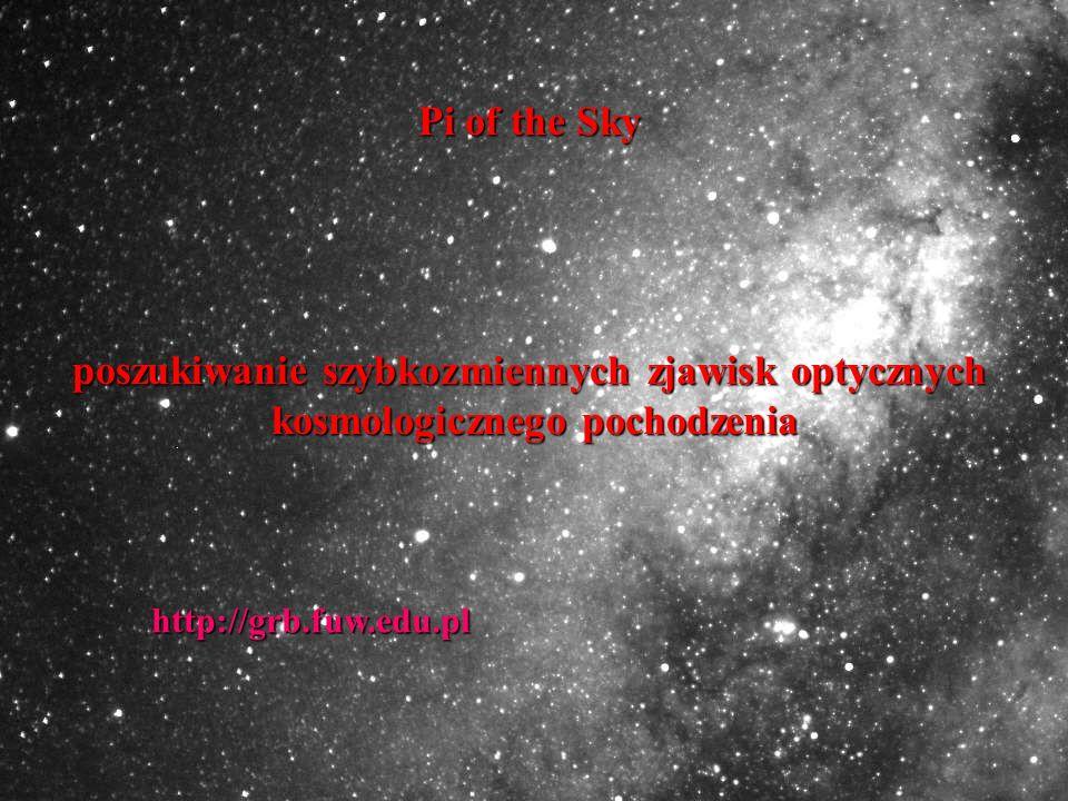 Pi of the Sky poszukiwanie szybkozmiennych zjawisk optycznych kosmologicznego pochodzenia kosmologicznego pochodzenia http://grb.fuw.edu.pl