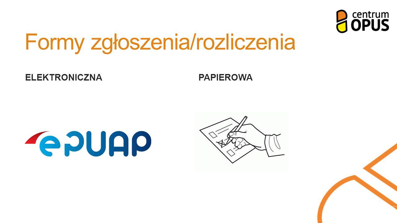 Formy zgłoszenia/rozliczenia ELEKTRONICZNA PAPIEROWA