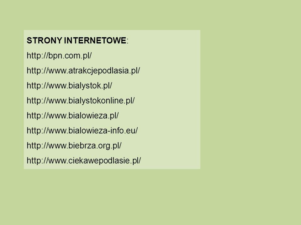 STRONY INTERNETOWE: http://bpn.com.pl/ http://www.atrakcjepodlasia.pl/ http://www.bialystok.pl/ http://www.bialystokonline.pl/ http://www.bialowieza.p