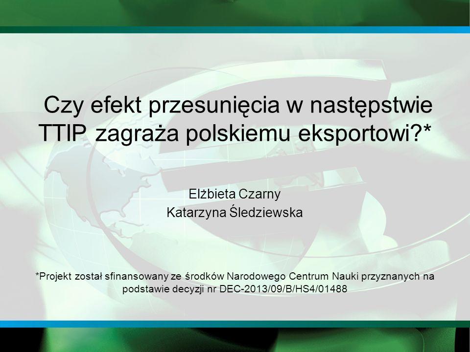 Czy efekt przesunięcia w następstwie TTIP zagraża polskiemu eksportowi * Elżbieta Czarny Katarzyna Śledziewska *Projekt został sfinansowany ze środków Narodowego Centrum Nauki przyznanych na podstawie decyzji nr DEC-2013/09/B/HS4/01488