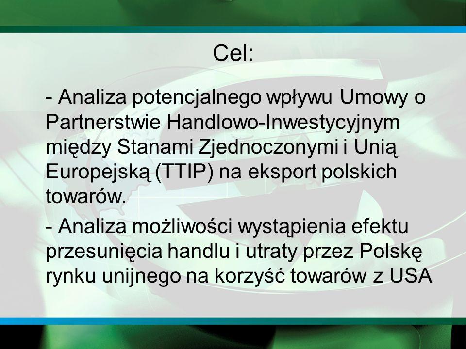 Cel: - Analiza potencjalnego wpływu Umowy o Partnerstwie Handlowo-Inwestycyjnym między Stanami Zjednoczonymi i Unią Europejską (TTIP) na eksport polskich towarów.