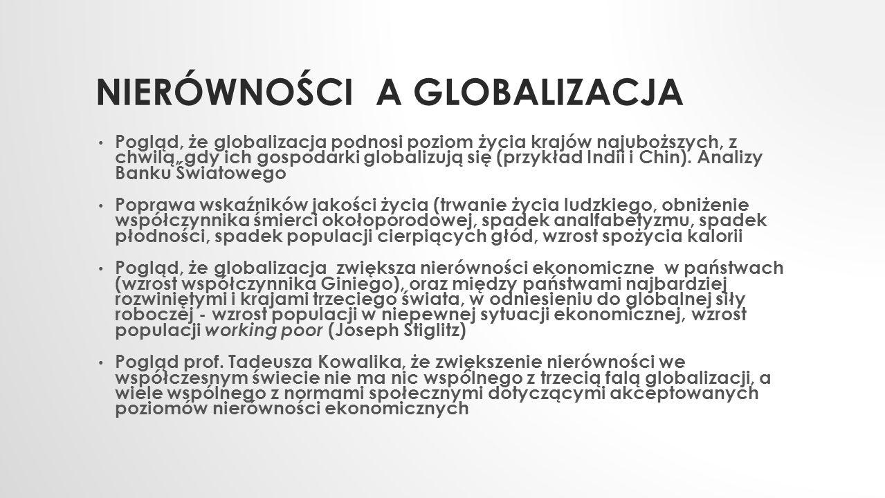 NIERÓWNOŚCI A GLOBALIZACJA Pogląd, że globalizacja podnosi poziom życia krajów najuboższych, z chwilą, gdy ich gospodarki globalizują się (przykład In