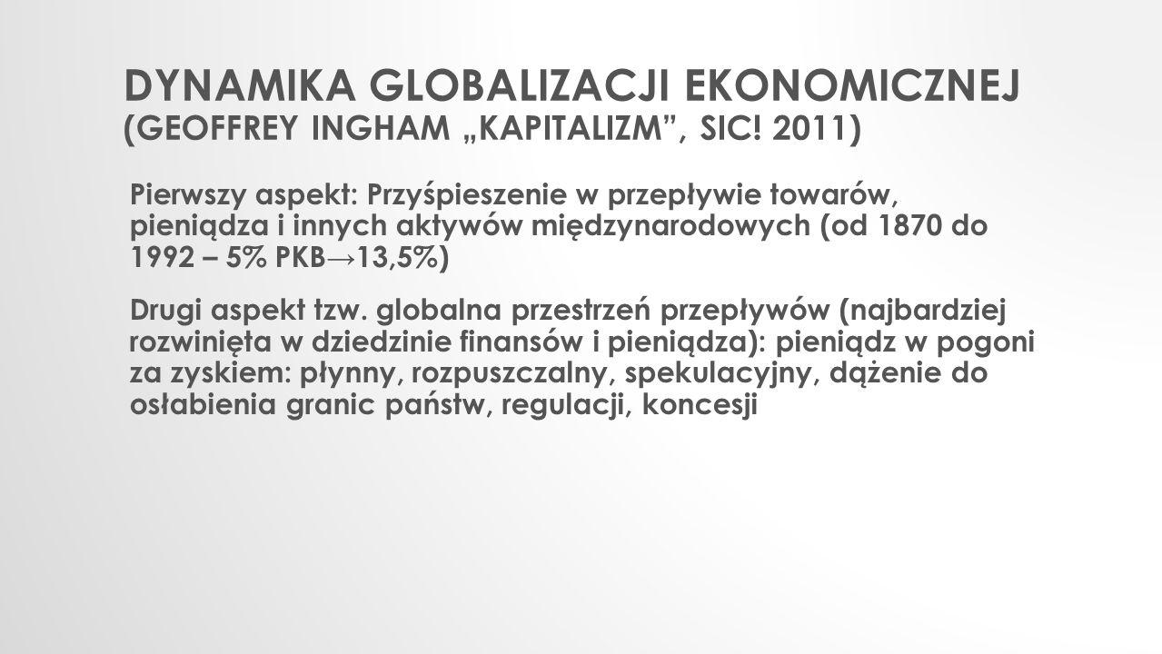 """DYNAMIKA GLOBALIZACJI EKONOMICZNEJ (GEOFFREY INGHAM """"KAPITALIZM"""", SIC! 2011) Pierwszy aspekt: Przyśpieszenie w przepływie towarów, pieniądza i innych"""
