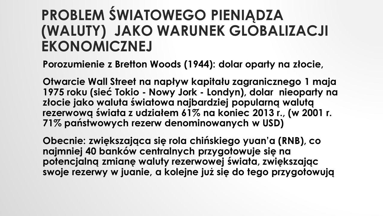 PROBLEM ŚWIATOWEGO PIENIĄDZA (WALUTY) JAKO WARUNEK GLOBALIZACJI EKONOMICZNEJ Porozumienie z Bretton Woods (1944): dolar oparty na złocie, Otwarcie Wal