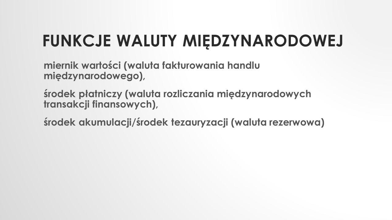 FUNKCJE WALUTY MIĘDZYNARODOWEJ miernik wartości (waluta fakturowania handlu międzynarodowego), środek płatniczy (waluta rozliczania międzynarodowych t