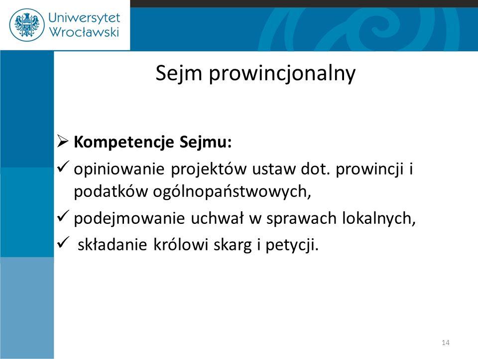 Sejm prowincjonalny  Kompetencje Sejmu: opiniowanie projektów ustaw dot. prowincji i podatków ogólnopaństwowych, podejmowanie uchwał w sprawach lokal