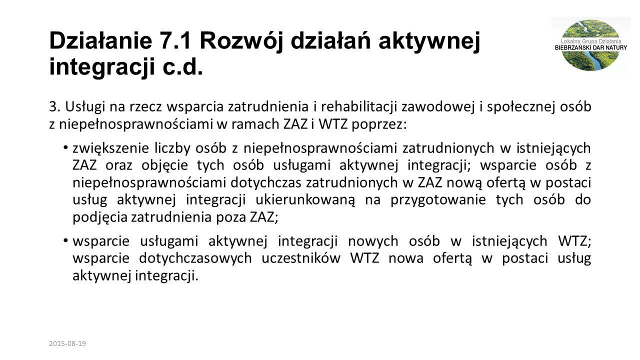 Działanie 7.1 Rozwój działań aktywnej integracji c.d.