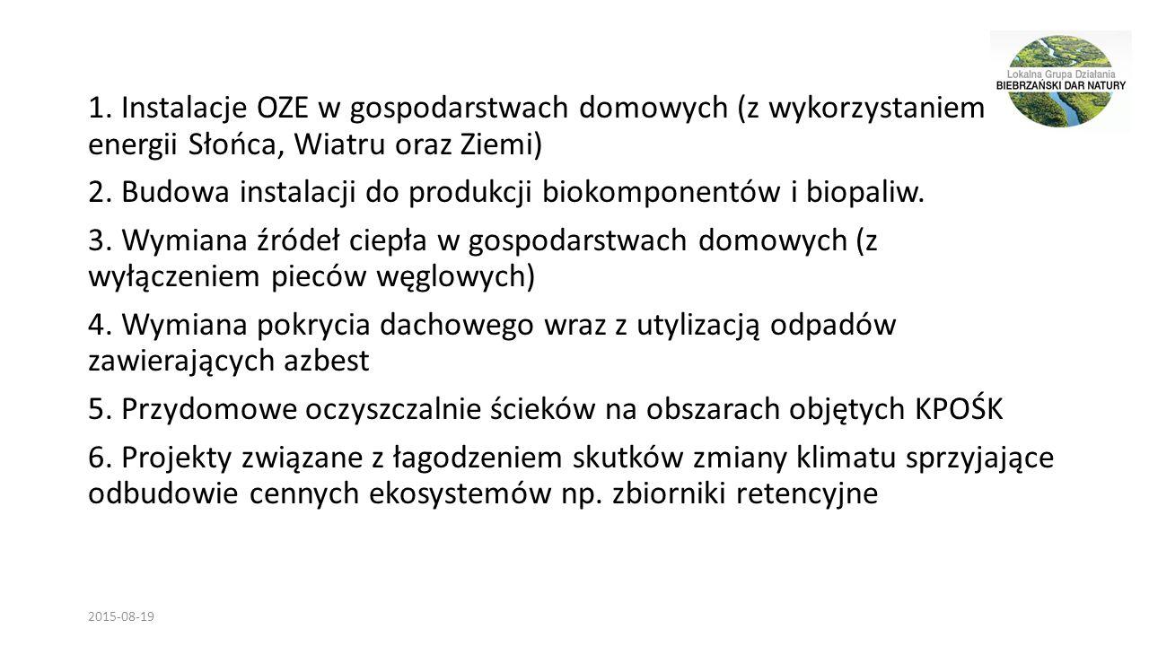 1. Instalacje OZE w gospodarstwach domowych (z wykorzystaniem energii Słońca, Wiatru oraz Ziemi) 2.