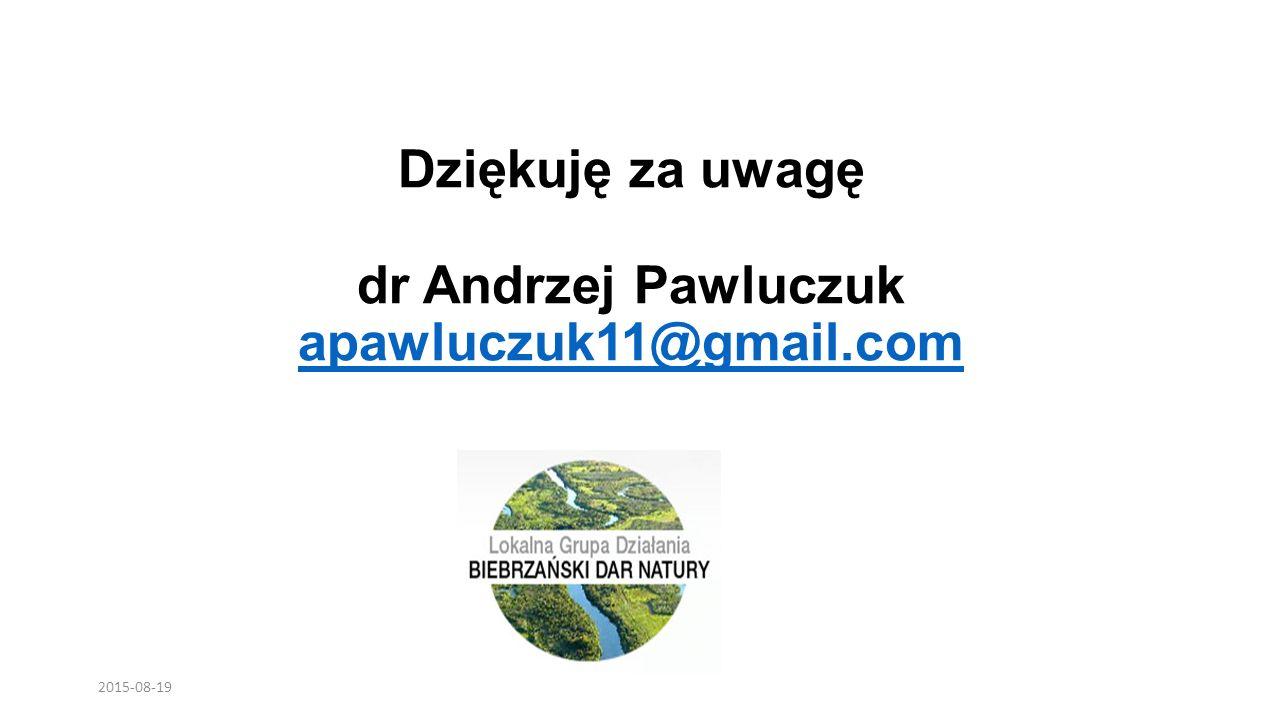 Dziękuję za uwagę dr Andrzej Pawluczuk apawluczuk11@gmail.com apawluczuk11@gmail.com 2015-08-19