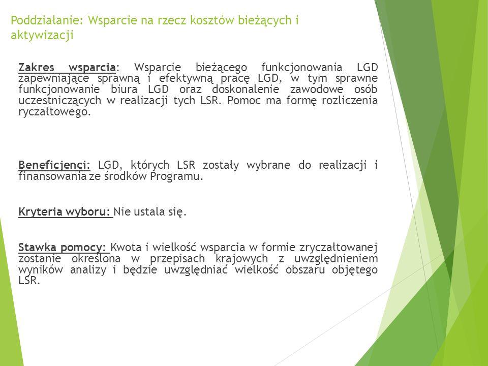 Poddziałanie: Wsparcie na rzecz kosztów bieżących i aktywizacji Zakres wsparcia: Wsparcie bieżącego funkcjonowania LGD zapewniające sprawną i efektywn