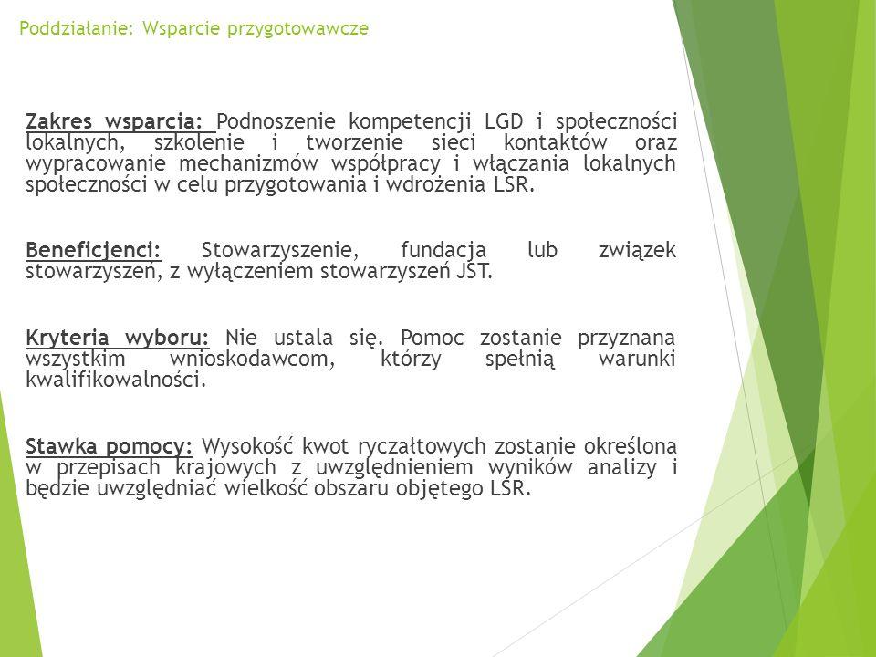 Poddziałanie: Wsparcie przygotowawcze Zakres wsparcia: Podnoszenie kompetencji LGD i społeczności lokalnych, szkolenie i tworzenie sieci kontaktów ora