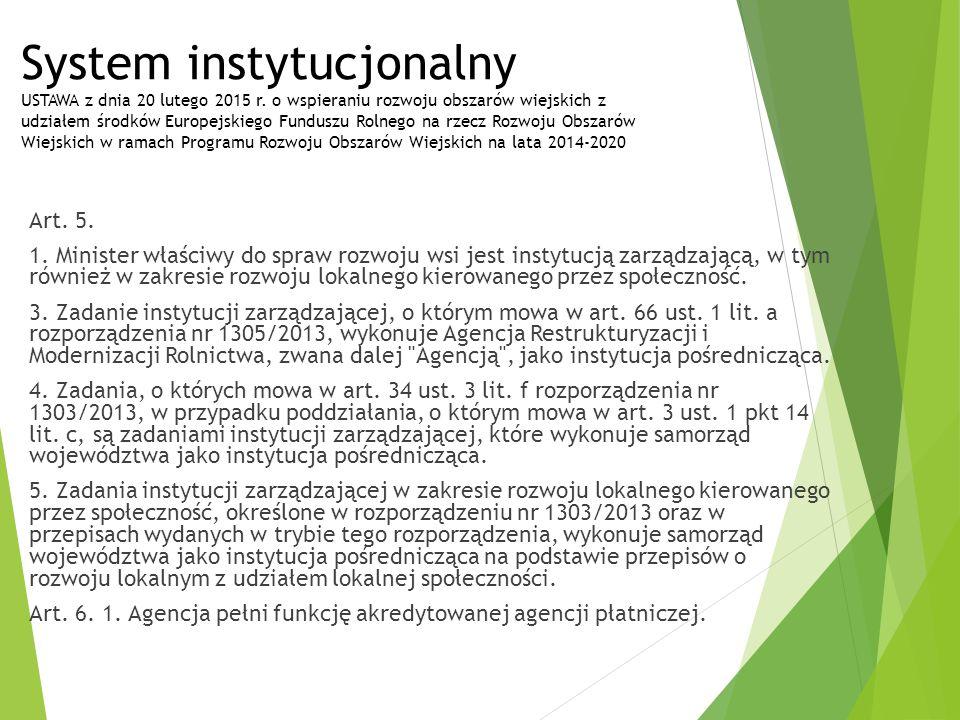System instytucjonalny USTAWA z dnia 20 lutego 2015 r. o wspieraniu rozwoju obszarów wiejskich z udziałem środków Europejskiego Funduszu Rolnego na rz