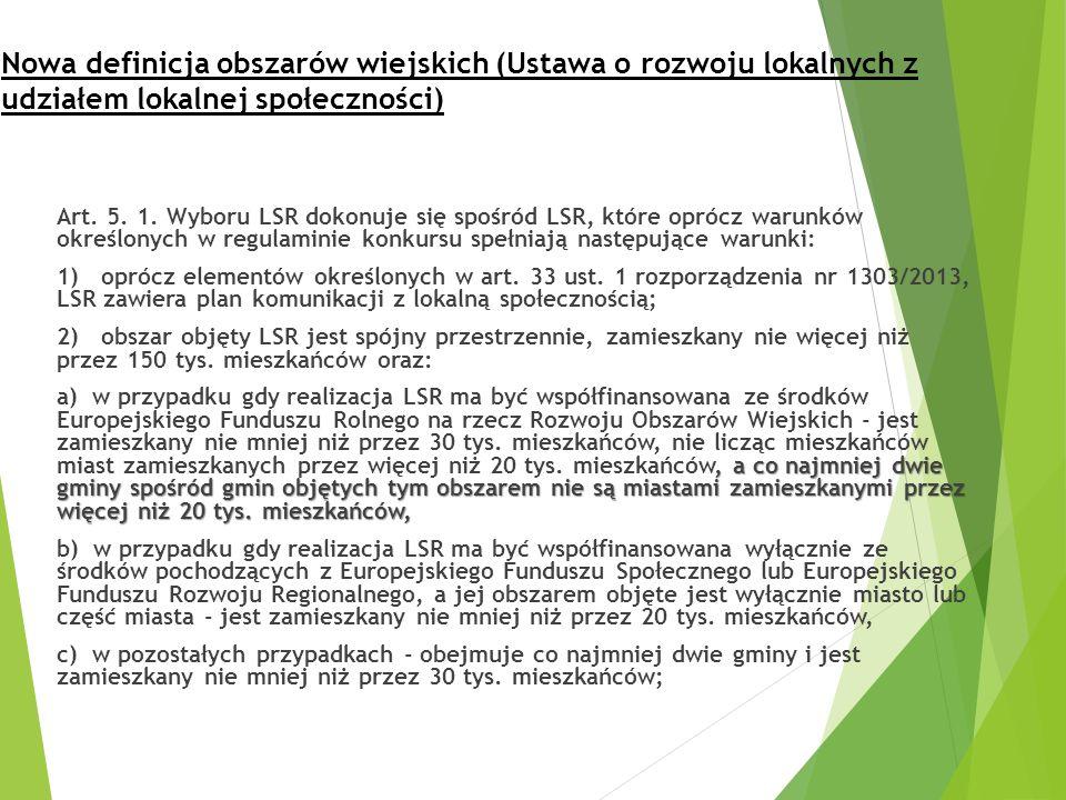 Nowa definicja obszarów wiejskich (Ustawa o rozwoju lokalnych z udziałem lokalnej społeczności) Art. 5. 1. Wyboru LSR dokonuje się spośród LSR, które