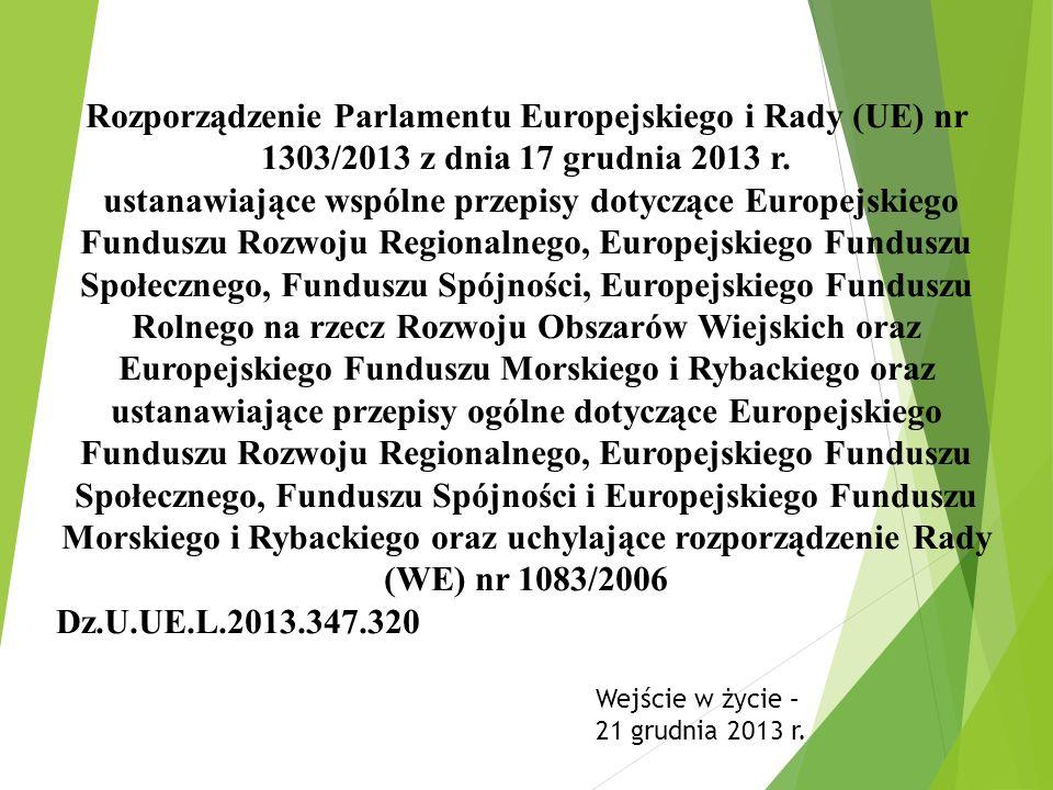 Rozporządzenie Parlamentu Europejskiego i Rady (UE) nr 1303/2013 z dnia 17 grudnia 2013 r. ustanawiające wspólne przepisy dotyczące Europejskiego Fund