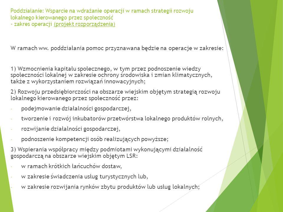 Poddziałanie: Wsparcie na wdrażanie operacji w ramach strategii rozwoju lokalnego kierowanego przez społeczność - zakres operacji (projekt rozporządzenia) W ramach ww.