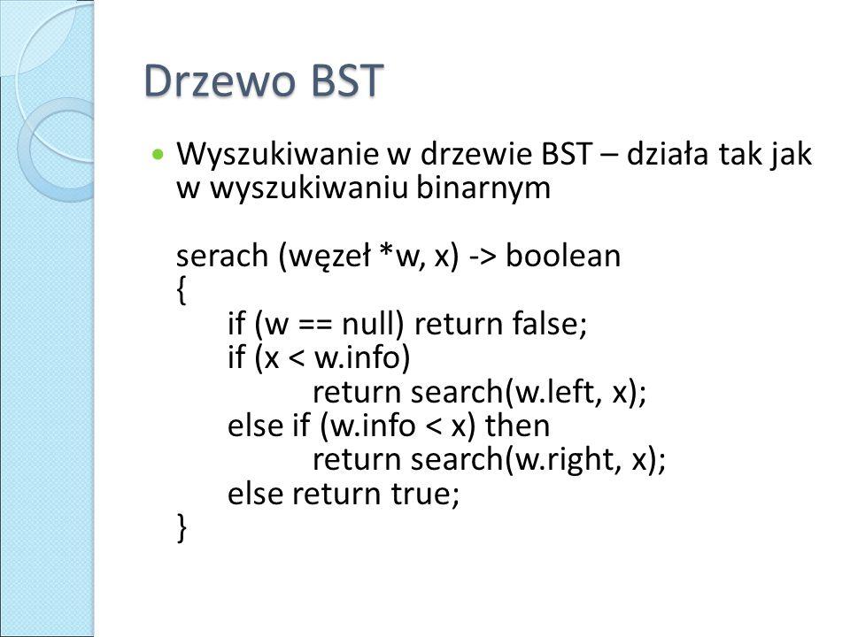 Drzewo BST Wyszukiwanie w drzewie BST – działa tak jak w wyszukiwaniu binarnym serach (węzeł *w, x) -> boolean { if (w == null) return false; if (x < w.info) return search(w.left, x); else if (w.info < x) then return search(w.right, x); else return true; }