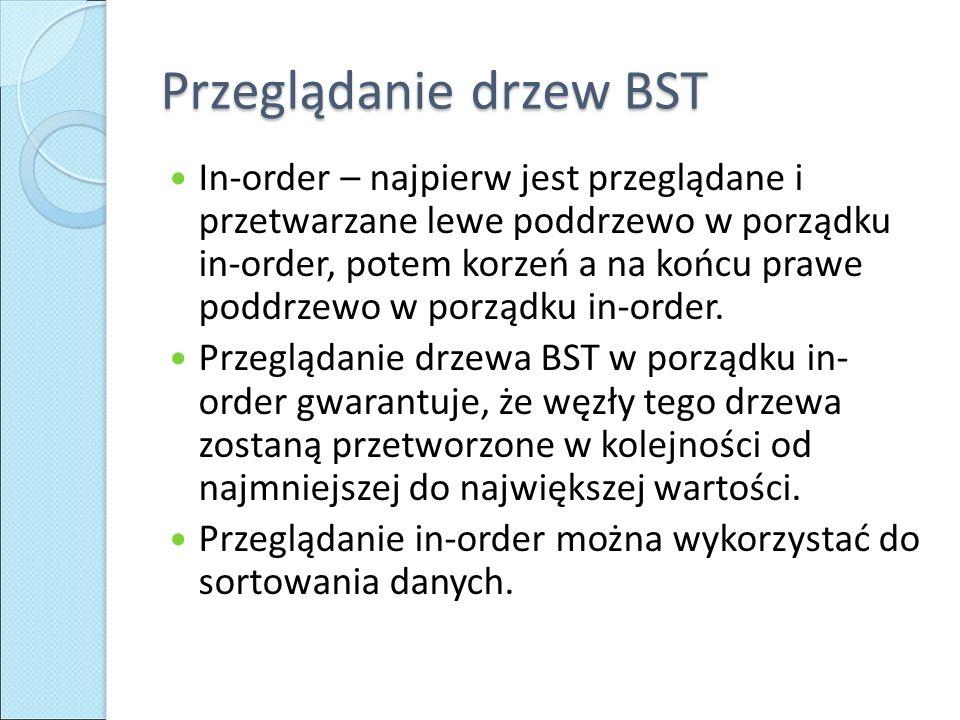 Przeglądanie drzew BST In-order – najpierw jest przeglądane i przetwarzane lewe poddrzewo w porządku in-order, potem korzeń a na końcu prawe poddrzewo w porządku in-order.