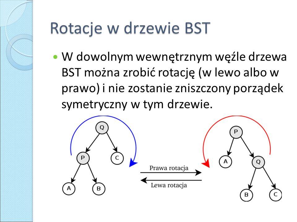 Rotacje w drzewie BST W dowolnym wewnętrznym węźle drzewa BST można zrobić rotację (w lewo albo w prawo) i nie zostanie zniszczony porządek symetryczny w tym drzewie.
