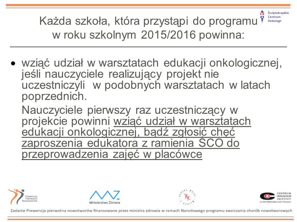Świętokrzyskie Centrum Onkologii  wziąć udział w warsztatach edukacji onkologicznej, jeśli nauczyciele realizujący projekt nie uczestniczyli w podobnych warsztatach w latach poprzednich.
