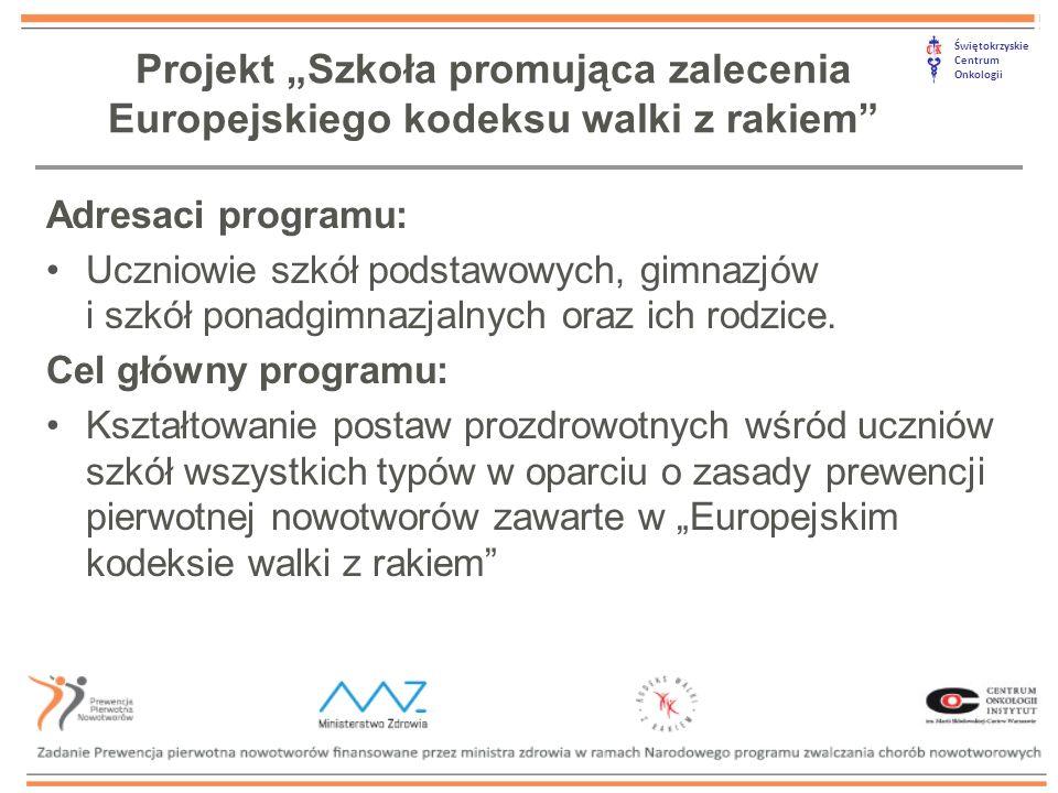 """Świętokrzyskie Centrum Onkologii Projekt """"Szkoła promująca zalecenia Europejskiego kodeksu walki z rakiem Adresaci programu: Uczniowie szkół podstawowych, gimnazjów i szkół ponadgimnazjalnych oraz ich rodzice."""