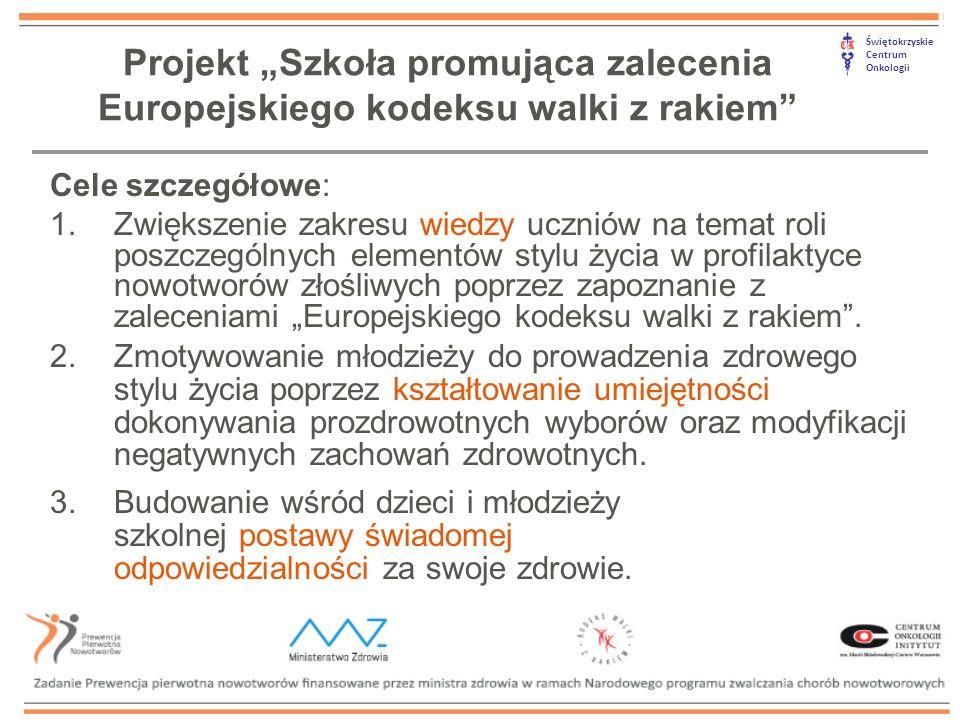 """Świętokrzyskie Centrum Onkologii Cele szczegółowe: 1.Zwiększenie zakresu wiedzy uczniów na temat roli poszczególnych elementów stylu życia w profilaktyce nowotworów złośliwych poprzez zapoznanie z zaleceniami """"Europejskiego kodeksu walki z rakiem ."""