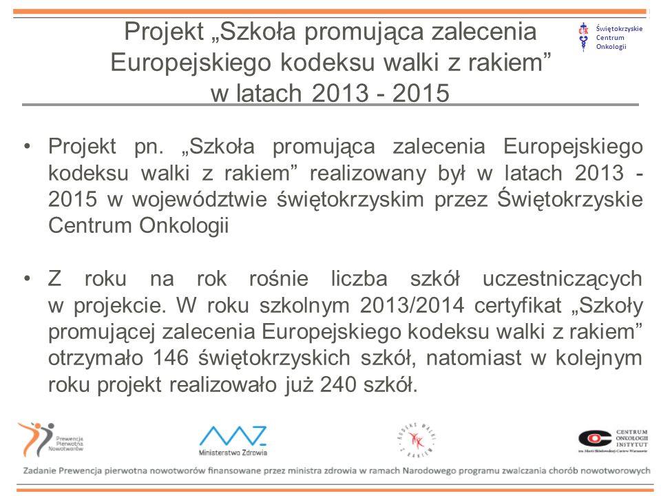 """Świętokrzyskie Centrum Onkologii Projekt """"Szkoła promująca zalecenia Europejskiego kodeksu walki z rakiem w latach 2013 - 2015 Projekt pn."""