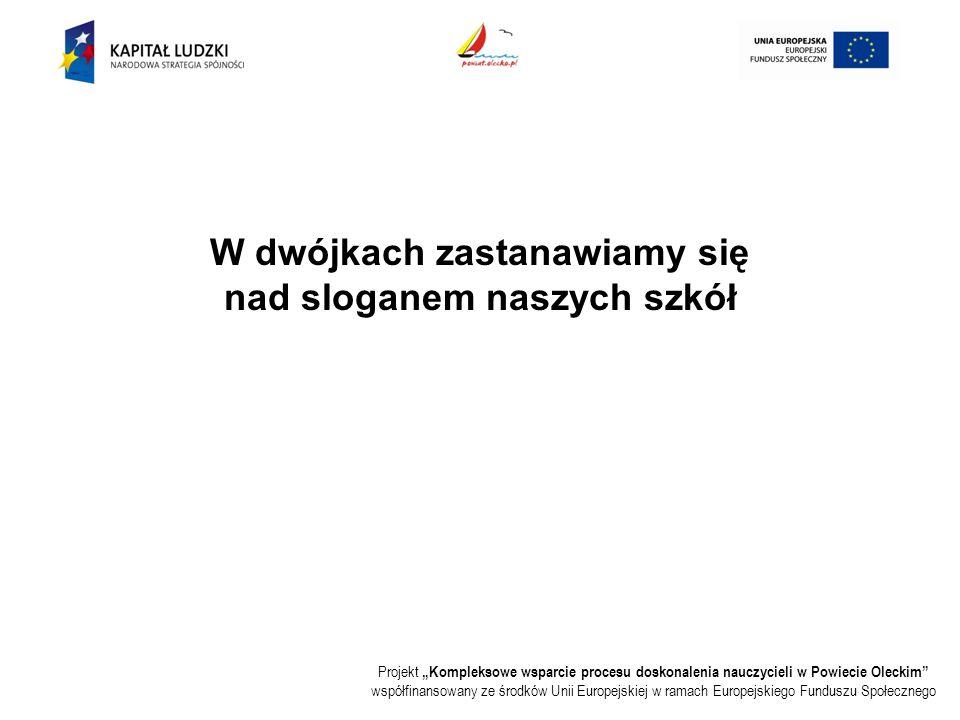 """Projekt """"Kompleksowe wsparcie procesu doskonalenia nauczycieli w Powiecie Oleckim współfinansowany ze środków Unii Europejskiej w ramach Europejskiego Funduszu Społecznego W dwójkach zastanawiamy się nad sloganem naszych szkół"""