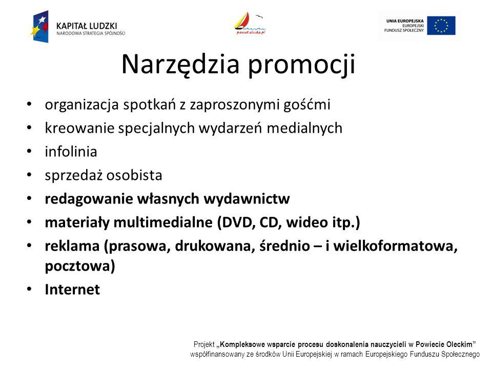 """Projekt """"Kompleksowe wsparcie procesu doskonalenia nauczycieli w Powiecie Oleckim współfinansowany ze środków Unii Europejskiej w ramach Europejskiego Funduszu Społecznego Narzędzia promocji organizacja spotkań z zaproszonymi gośćmi kreowanie specjalnych wydarzeń medialnych infolinia sprzedaż osobista redagowanie własnych wydawnictw materiały multimedialne (DVD, CD, wideo itp.) reklama (prasowa, drukowana, średnio – i wielkoformatowa, pocztowa) Internet"""