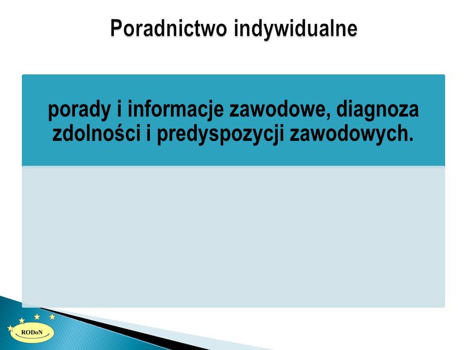 porady i informacje zawodowe, diagnoza zdolności i predyspozycji zawodowych.
