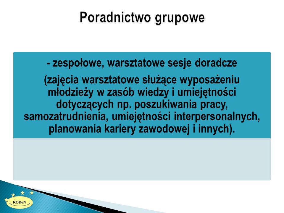 - zespołowe, warsztatowe sesje doradcze (zajęcia warsztatowe służące wyposażeniu młodzieży w zasób wiedzy i umiejętności dotyczących np. poszukiwania