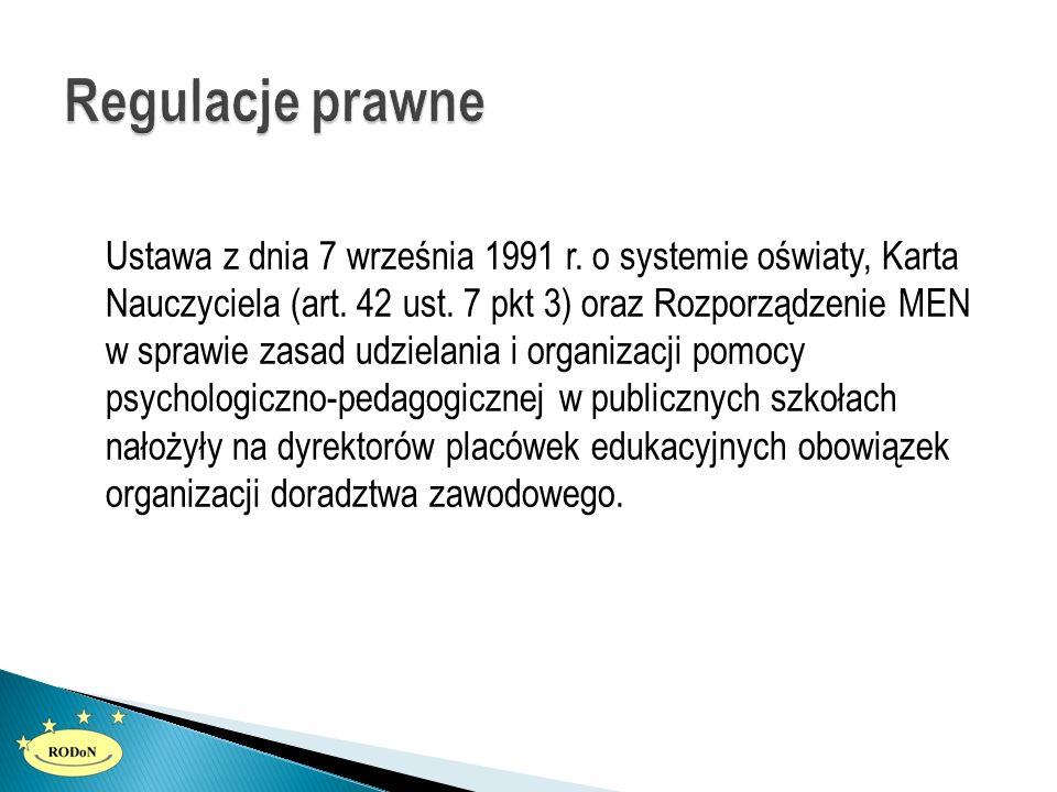 Ustawa z dnia 7 września 1991 r. o systemie oświaty, Karta Nauczyciela (art. 42 ust. 7 pkt 3) oraz Rozporządzenie MEN w sprawie zasad udzielania i org