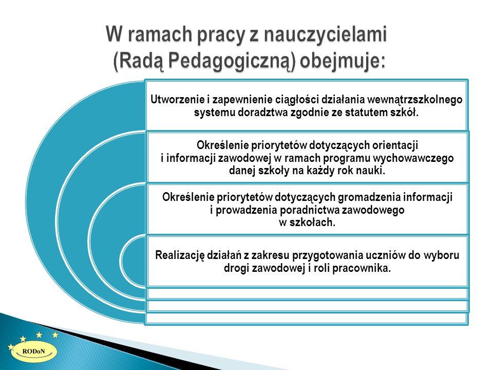 Utworzenie i zapewnienie ciągłości działania wewnątrzszkolnego systemu doradztwa zgodnie ze statutem szkół. Określenie priorytetów dotyczących orienta