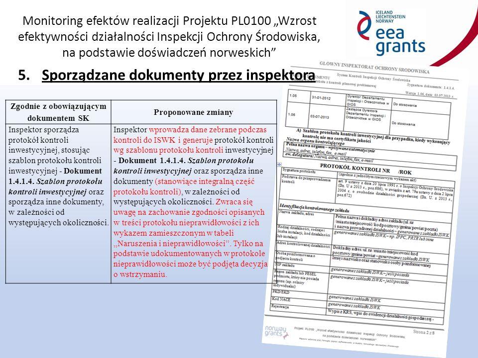 """Monitoring efektów realizacji Projektu PL0100 """"Wzrost efektywności działalności Inspekcji Ochrony Środowiska, na podstawie doświadczeń norweskich 5.Sporządzane dokumenty przez inspektora Zgodnie z obowiązującym dokumentem SK Proponowane zmiany Inspektor sporządza protokół kontroli inwestycyjnej, stosując szablon protokołu kontroli inwestycyjnej - Dokument 1.4.1.4."""