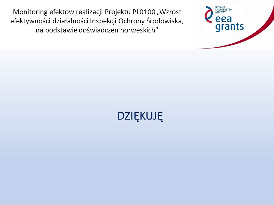"""Monitoring efektów realizacji Projektu PL0100 """"Wzrost efektywności działalności Inspekcji Ochrony Środowiska, na podstawie doświadczeń norweskich DZIĘKUJĘ"""