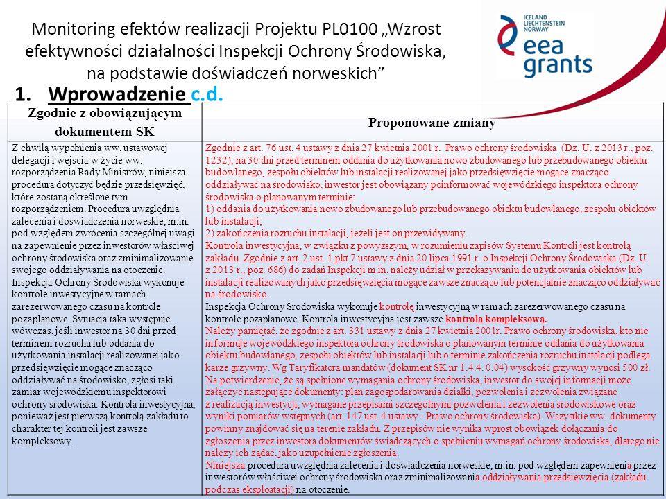 """Monitoring efektów realizacji Projektu PL0100 """"Wzrost efektywności działalności Inspekcji Ochrony Środowiska, na podstawie doświadczeń norweskich 2.Cel procedury Zgodnie z obowiązującym dokumentem SKProponowane zmiany Zasadniczym celem procedury jest ustalenie jednolitych zasad wykonywania kontroli nowych przedsięwzięć, mając na uwadze nie dopuszczenie do oddania do użytkowania instalacji, które nie spełniają wymagań określonych w przepisach ochrony środowiska."""
