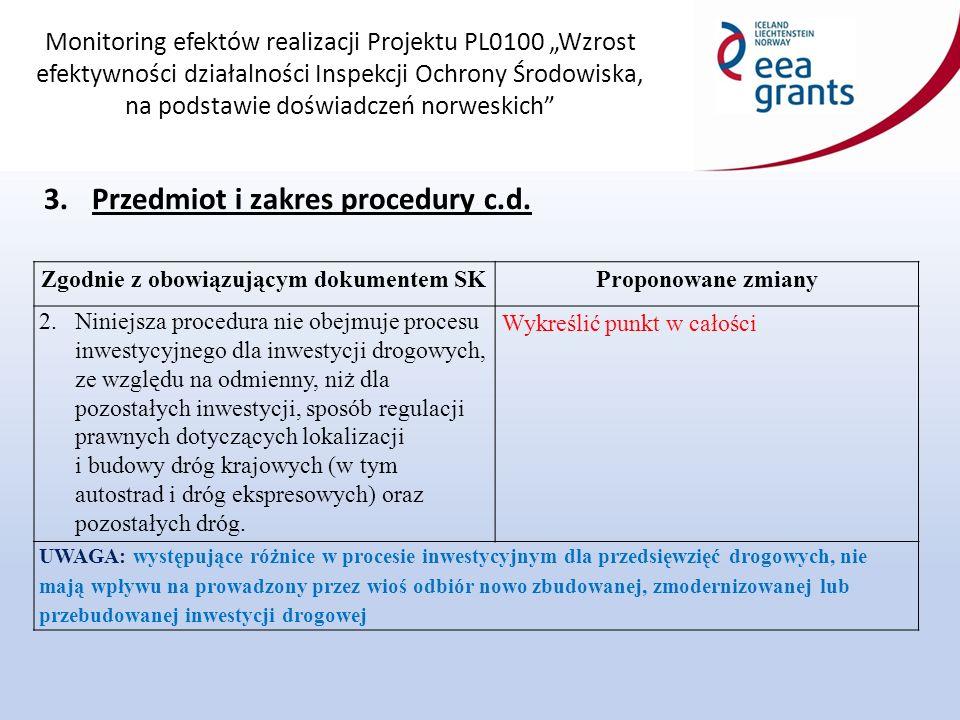 """Monitoring efektów realizacji Projektu PL0100 """"Wzrost efektywności działalności Inspekcji Ochrony Środowiska, na podstawie doświadczeń norweskich Zgodnie z obowiązującym dokumentem SKProponowane zmiany 2.Niniejsza procedura nie obejmuje procesu inwestycyjnego dla inwestycji drogowych, ze względu na odmienny, niż dla pozostałych inwestycji, sposób regulacji prawnych dotyczących lokalizacji i budowy dróg krajowych (w tym autostrad i dróg ekspresowych) oraz pozostałych dróg."""