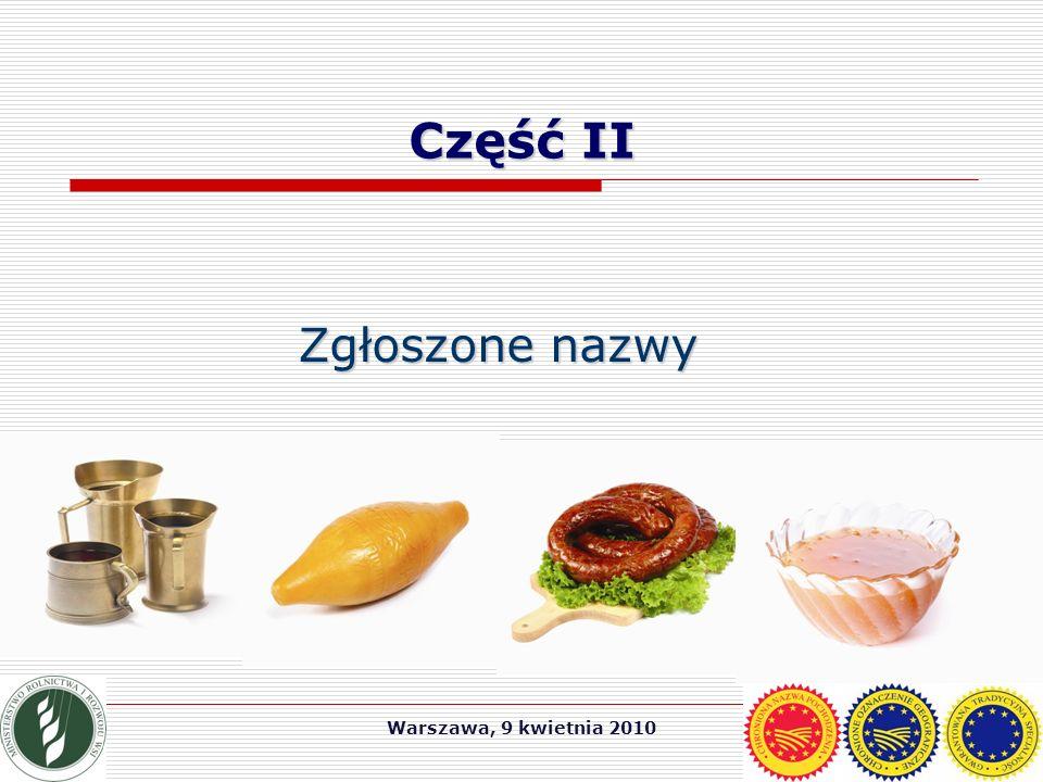 Warszawa, 9 kwietnia 2010 Część II Zgłoszone nazwy
