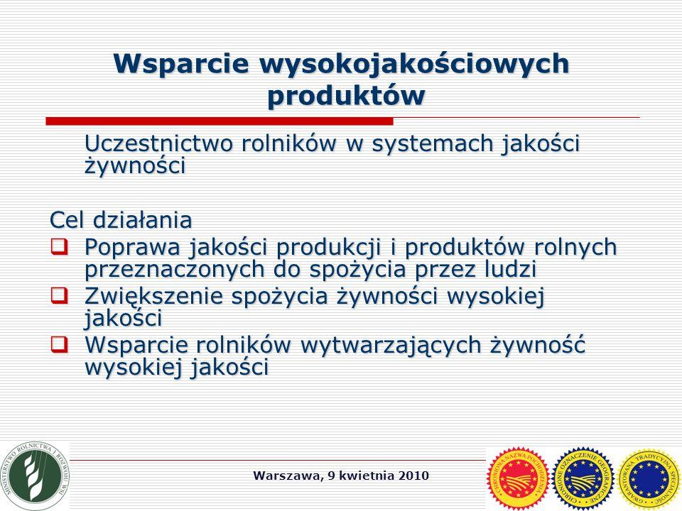 Warszawa, 9 kwietnia 2010 Wsparcie wysokojakościowych produktów Uczestnictwo rolników w systemach jakości żywności Cel działania  Poprawa jakości produkcji i produktów rolnych przeznaczonych do spożycia przez ludzi  Zwiększenie spożycia żywności wysokiej jakości  Wsparcie rolników wytwarzających żywność wysokiej jakości