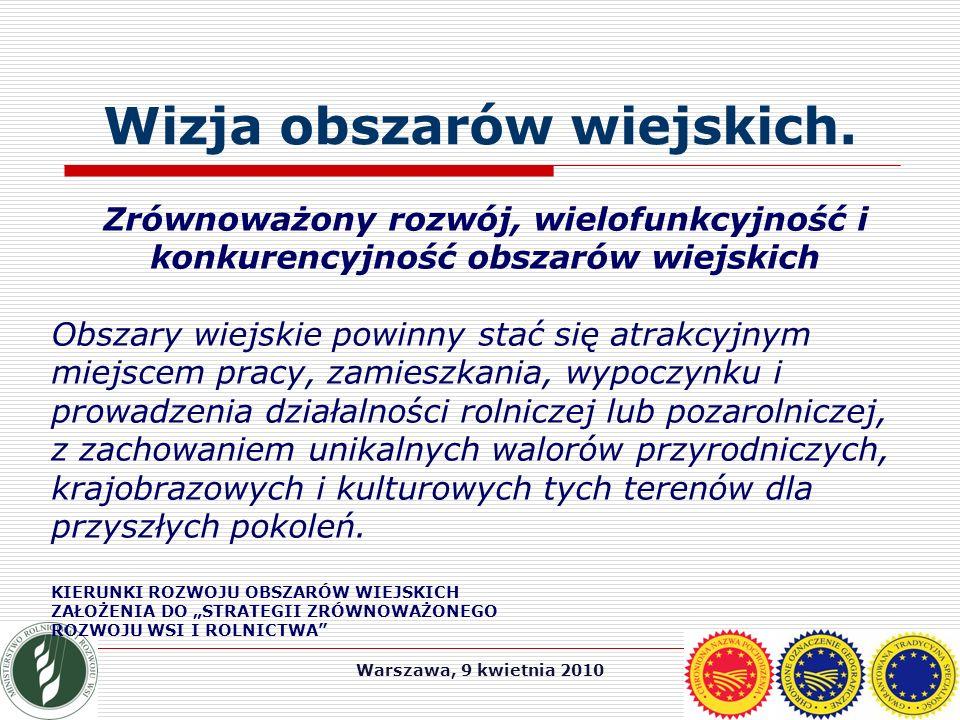 Warszawa, 9 kwietnia 2010 Wizja obszarów wiejskich.