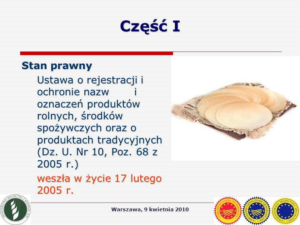 Warszawa, 9 kwietnia 2010 Część I Stan prawny Ustawa o rejestracji i ochronie nazw i oznaczeń produktów rolnych, środków spożywczych oraz o produktach tradycyjnych (Dz.